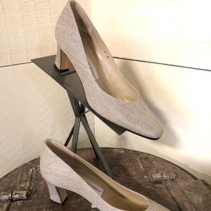 NEW Etienne Aigner Taupe Fabric Pump
